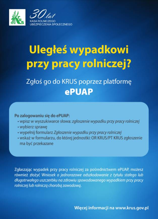 Uległeś wypadkowi przy pracy rolniczej? Zgłoś go do KRUS poprzez platformę ePUAP