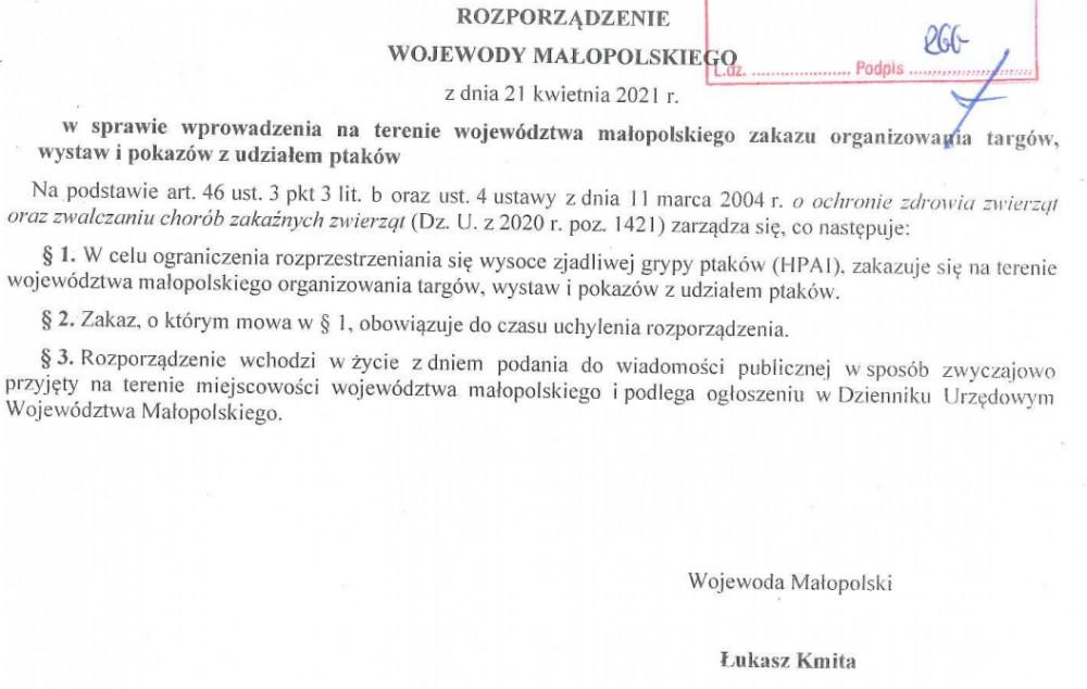 Rozporządzenie Wojewody Małopolskiego